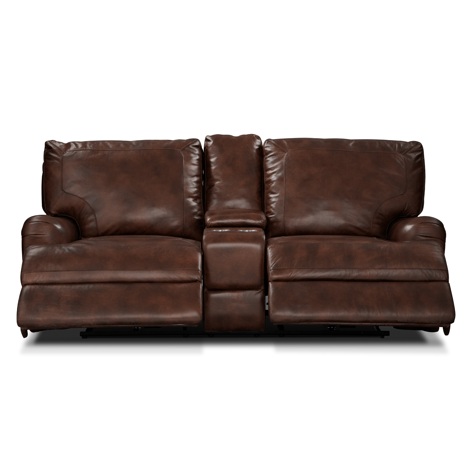 Click to change image.  sc 1 st  Value City Furniture & Kingsway Power Reclining Loveseat with Console - Brown | Value ... islam-shia.org