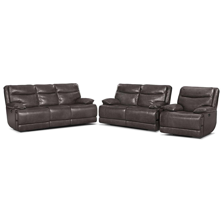 Living Room Furniture - Monaco Power Reclining Sofa, Reclining Loveseat and Recliner Set - Gray