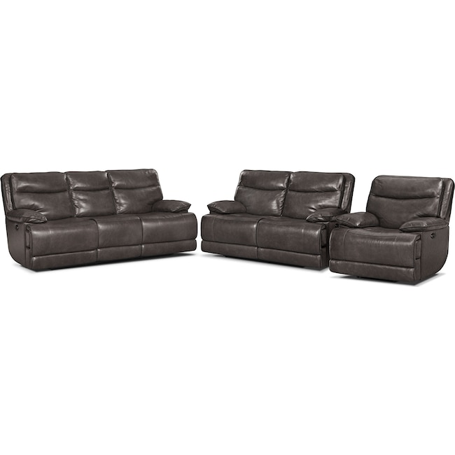 Living Room Furniture - Monaco Power Reclining Sofa, Reclining Loveseat and Recliner Set - Gray