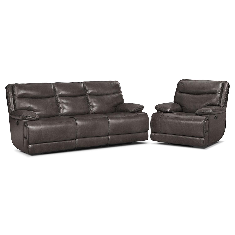 Living Room Furniture - Monaco Power Reclining Sofa and Recliner Set - Gray