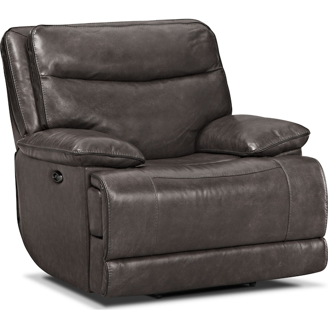 Living Room Furniture - Monaco Power Recliner - Gray
