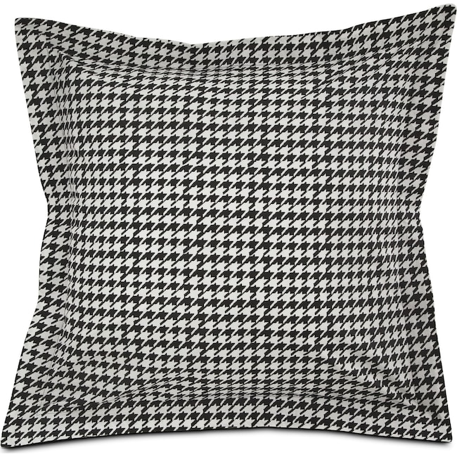 Accent and Occasional Furniture - Houndstooth Euro Sham - Black and White