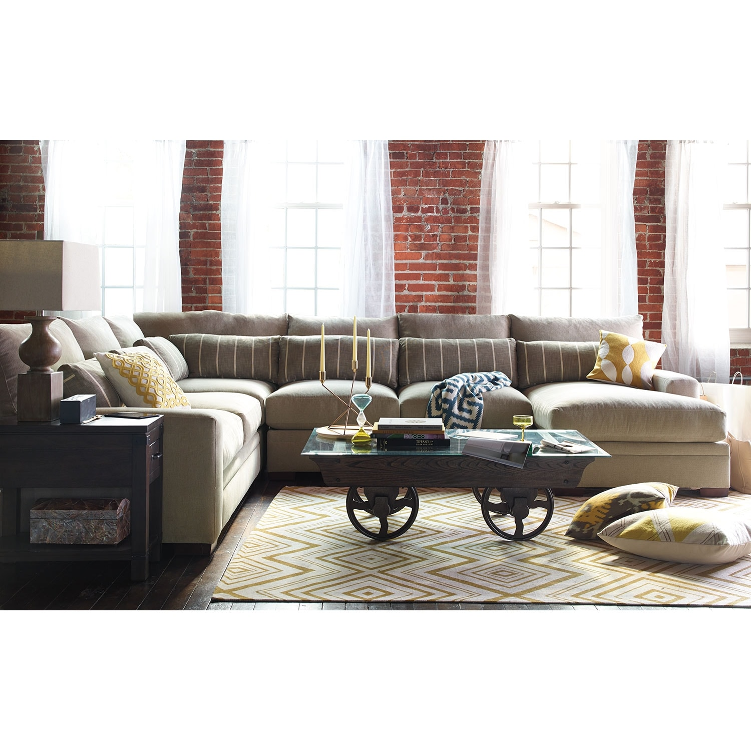 ventura 4-piece right-facing sectional - buff | value city furniture