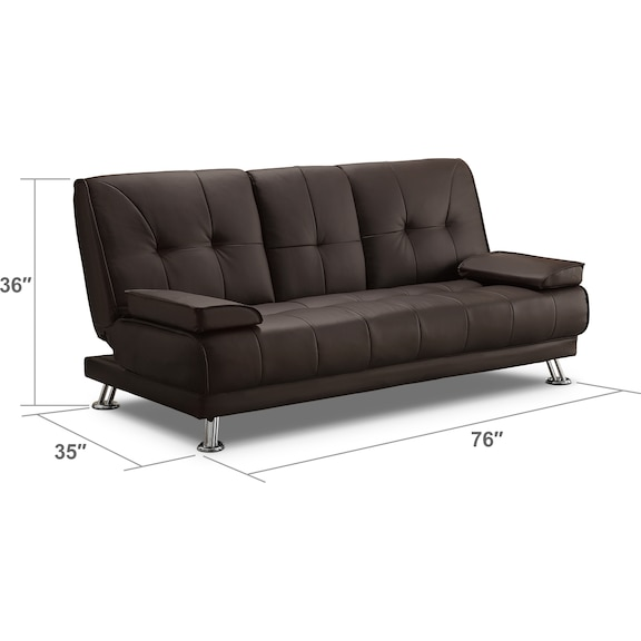 Living Room Furniture - Flash Futon Sofa Bed - Dark Brown
