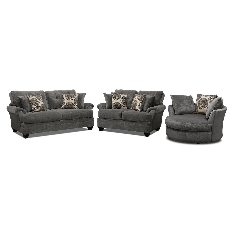 Cordelle Sofa Loveseat and Swivel Chair Set Gray
