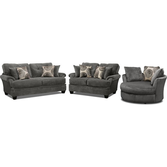 Living Room Furniture Cordelle Sofa Loveseat And Swivel Chair Set Gray