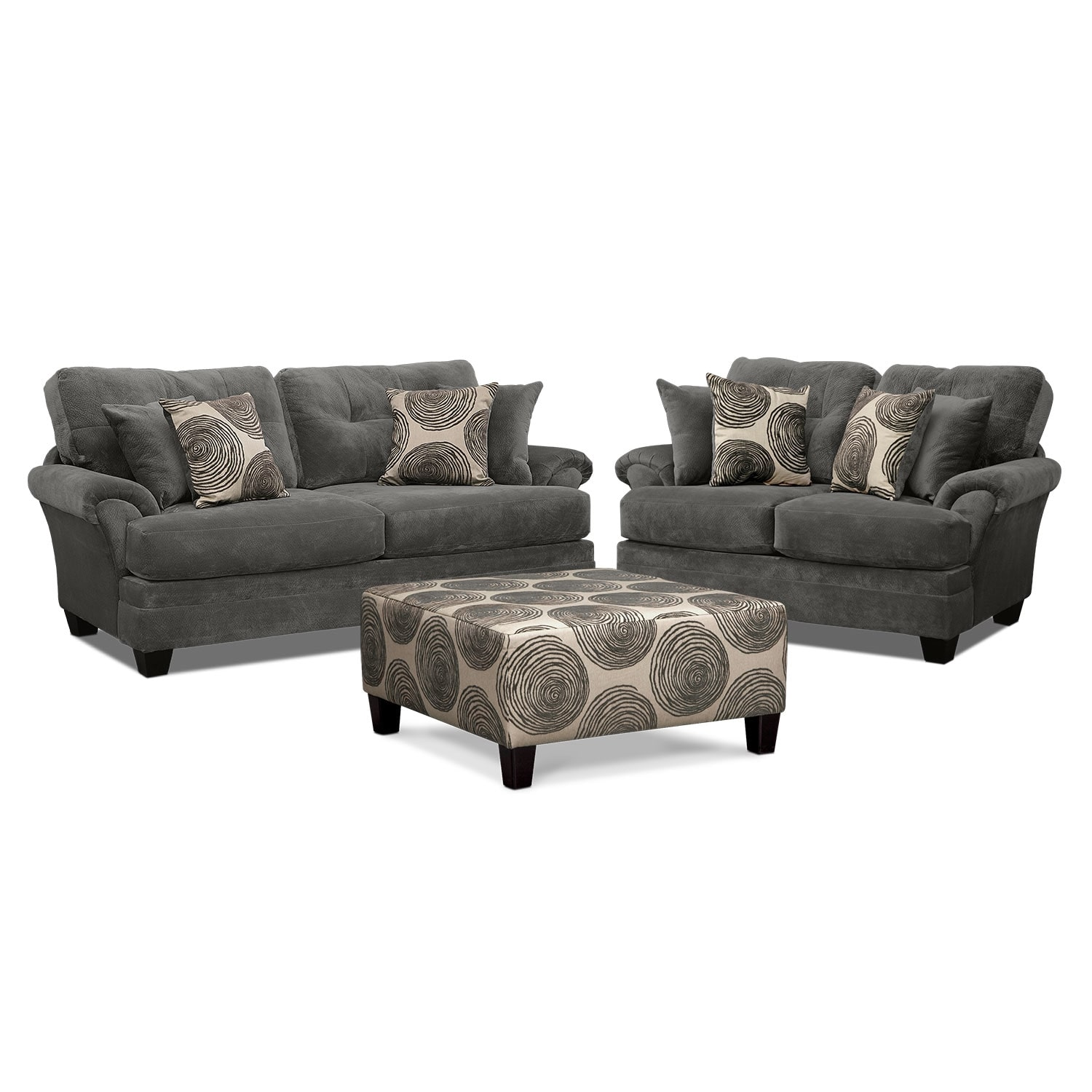 ... Loveseat and Cocktail Ottoman Set - Gray. Hover to zoom - Cordelle Sofa, Loveseat And Cocktail Ottoman Set - Gray Value