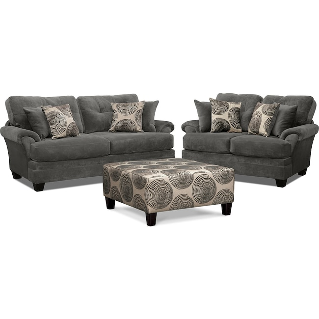 Living Room Furniture - Cordelle Sofa, Loveseat and Ottoman