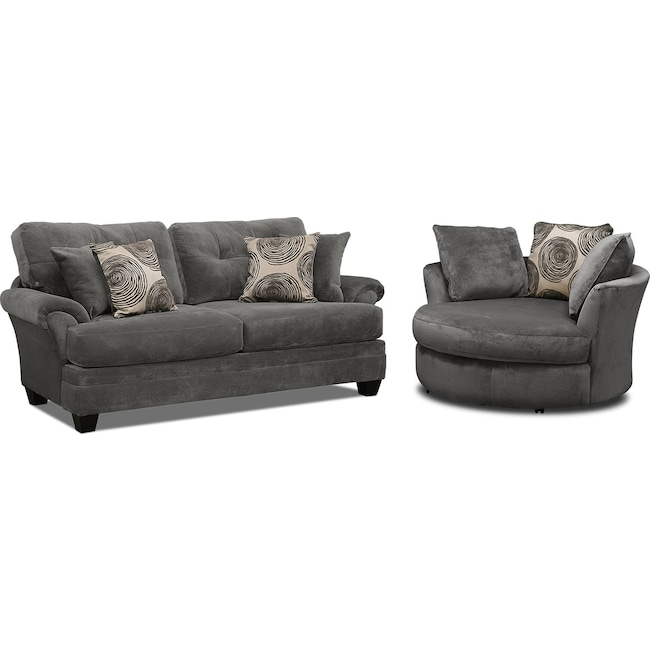 Living Room Furniture - Cordelle Sofa and Swivel Chair Set - Gray