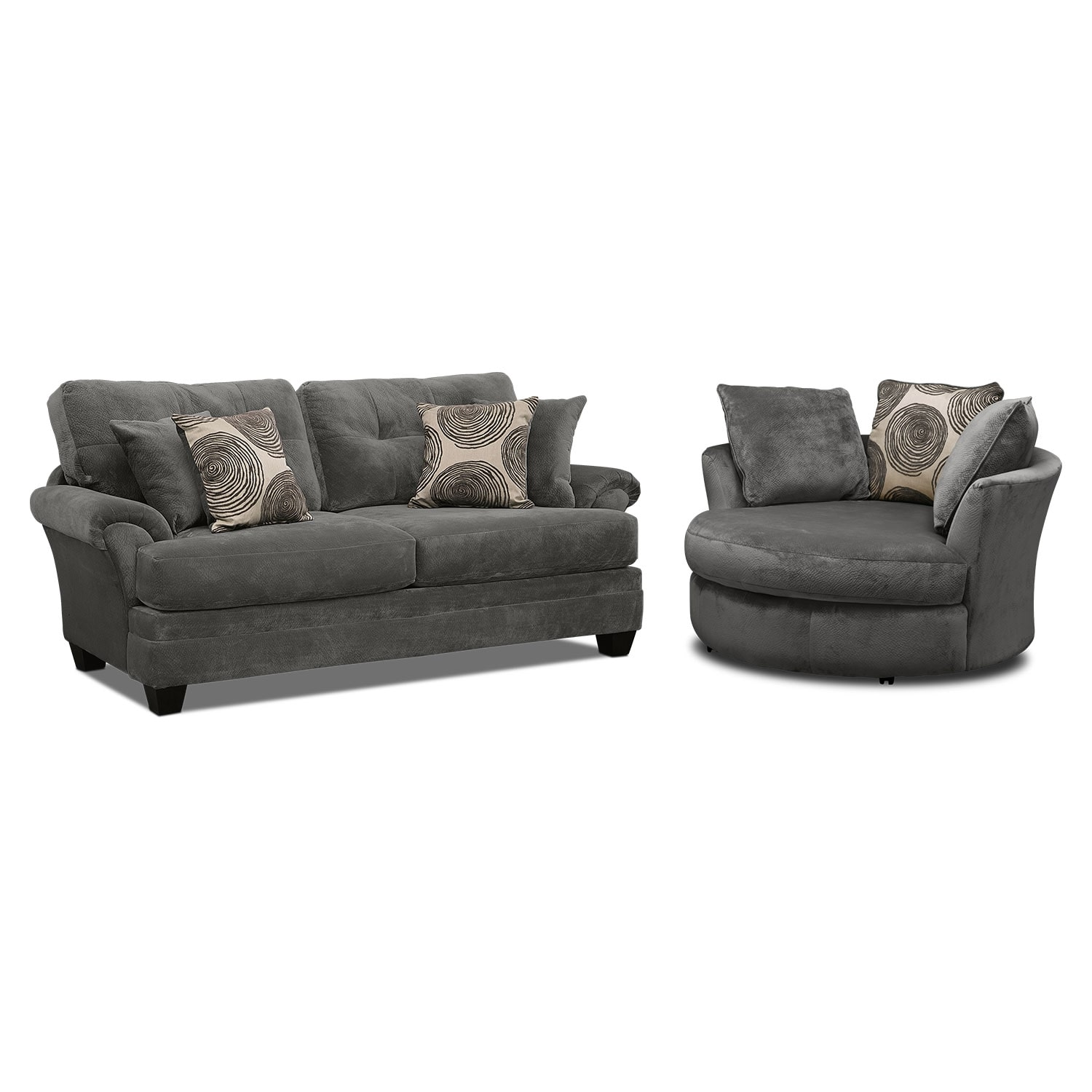 Living Room Furniture   Cordelle Sofa And Swivel Chair Set   Gray