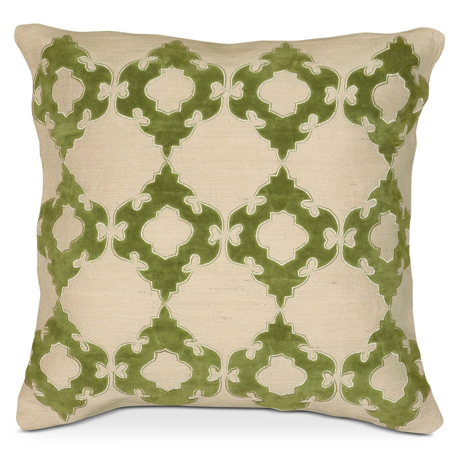 Accent and Occasional Furniture - Green Scroll Decorative Pillow