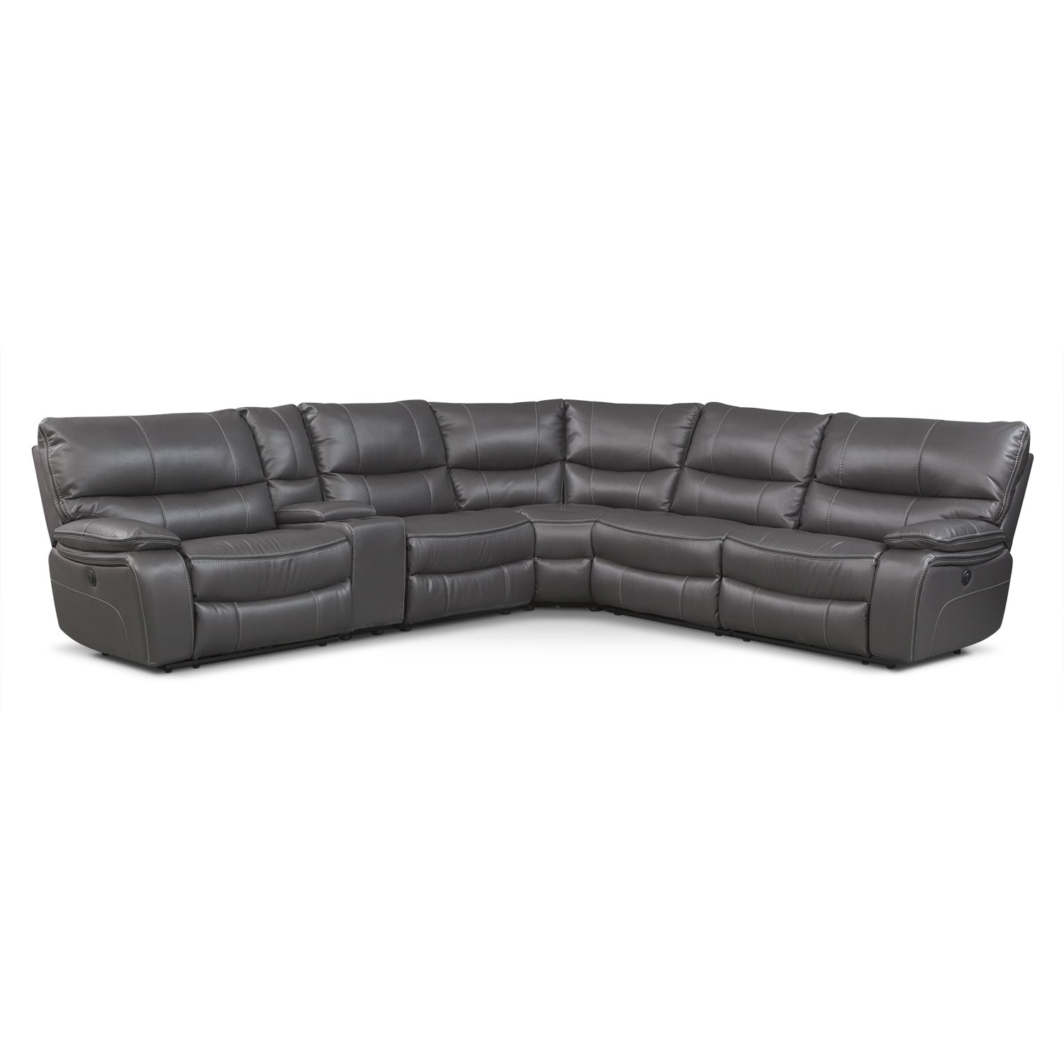 Living Room Furniture - Orlando 6-Piece Power Reclining Sectional with 1 Stationary Chair