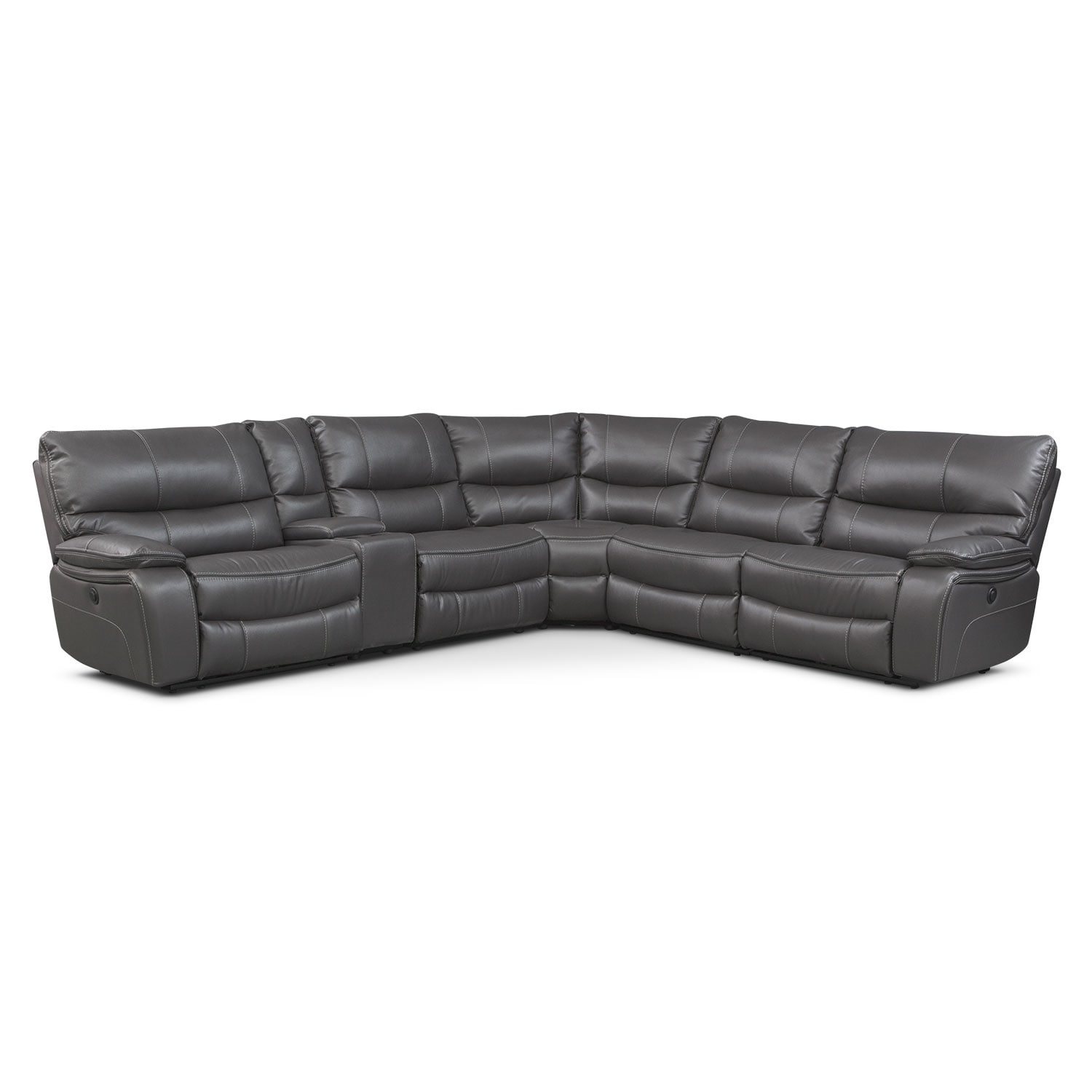Orlando 6-Piece Power Reclining Sectional with 2 Stationary Chairs - Gray