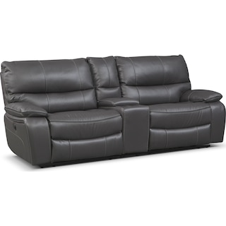 Orlando Power Reclining Sofa with Console - Gray