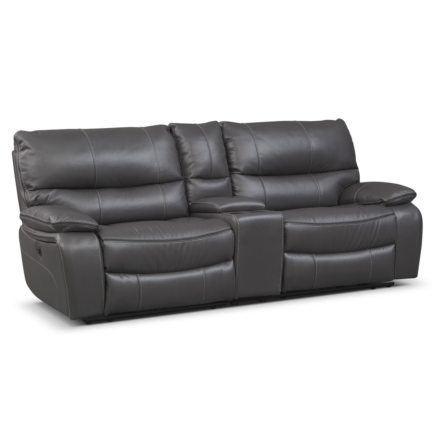 Beautiful Living Room Furniture   Orlando Power Reclining Sofa With Console   Gray