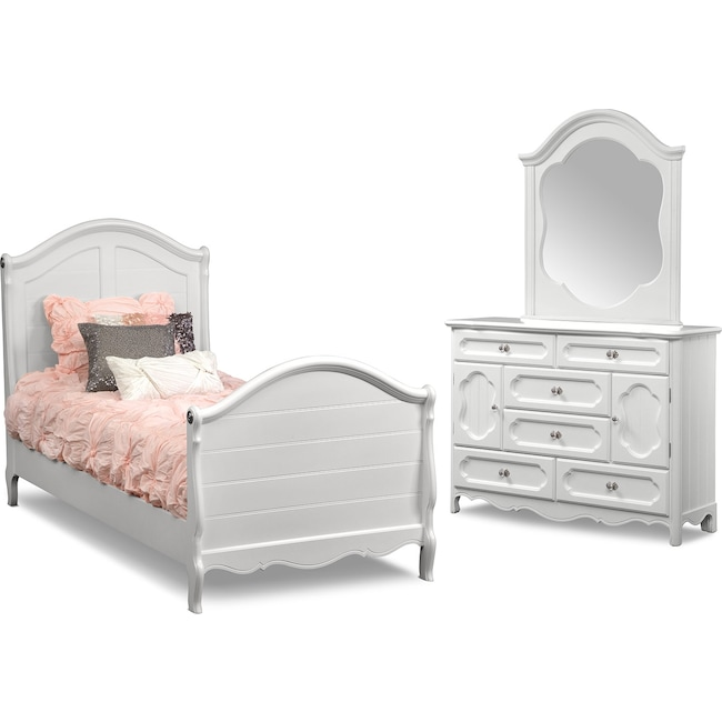 Kids Furniture - Carly 5-Piece Bedroom Set with Dresser and Mirror