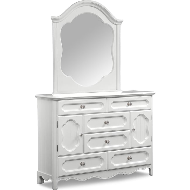Kids Furniture Carly Dresser And Mirror White