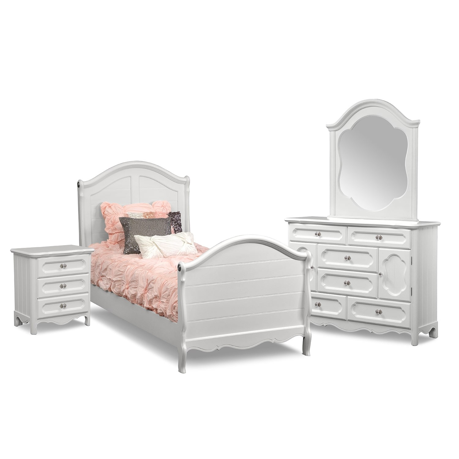 Kids Furniture - Carly 6-Piece Bedroom Set with Nightstand, Dresser and Mirror