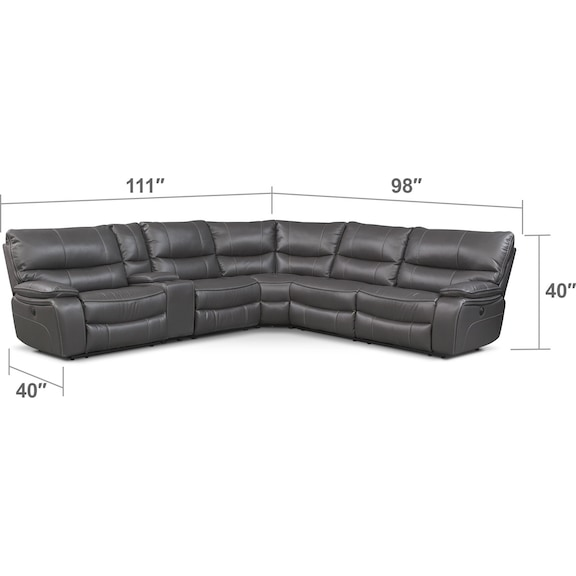 Living Room Furniture - Orlando 6-Piece Power Reclining Sectional with 1 Stationary Chair - Gray