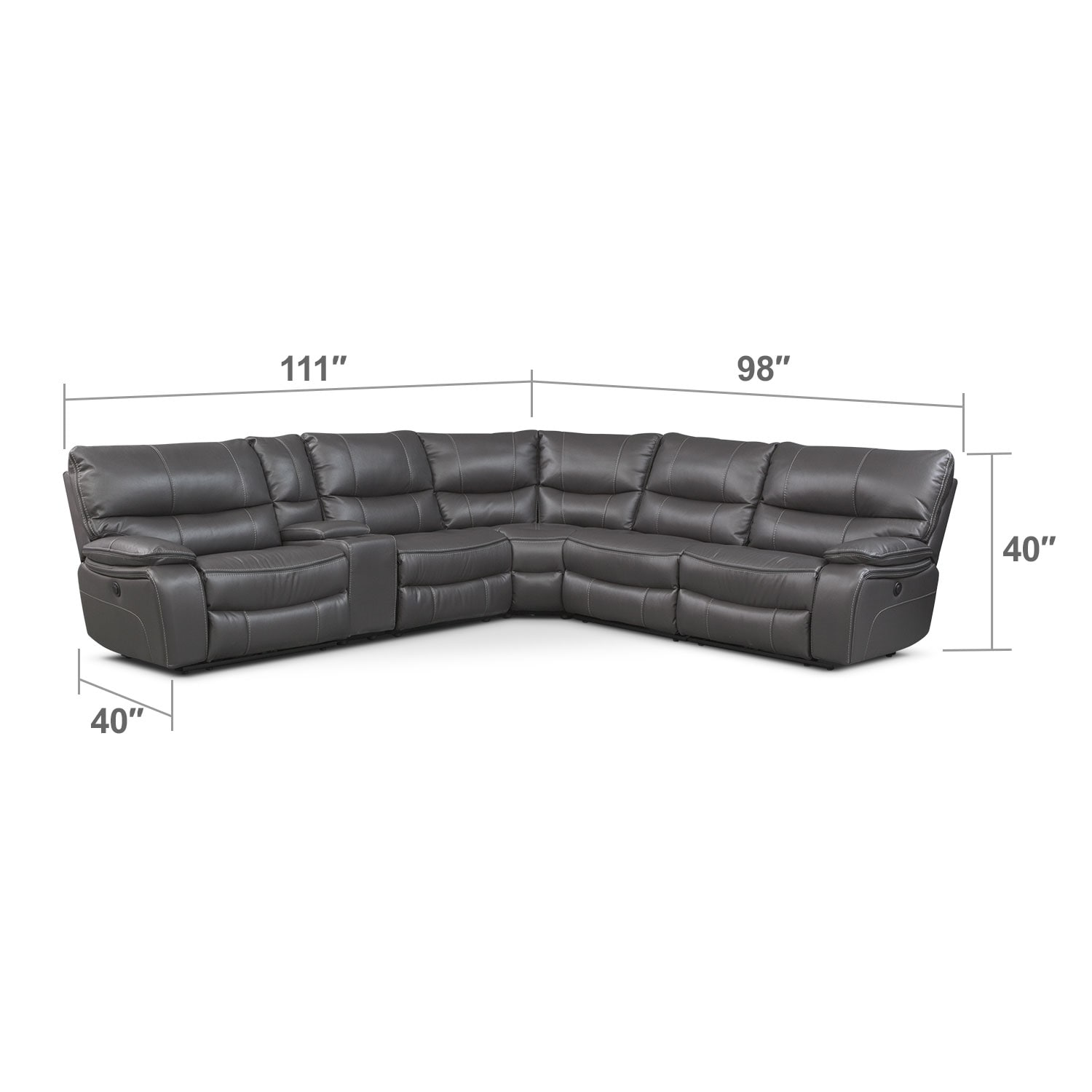 Living Room Furniture - Orlando 6-Piece Power Reclining Sectional with 2 Stationary Chairs - Gray
