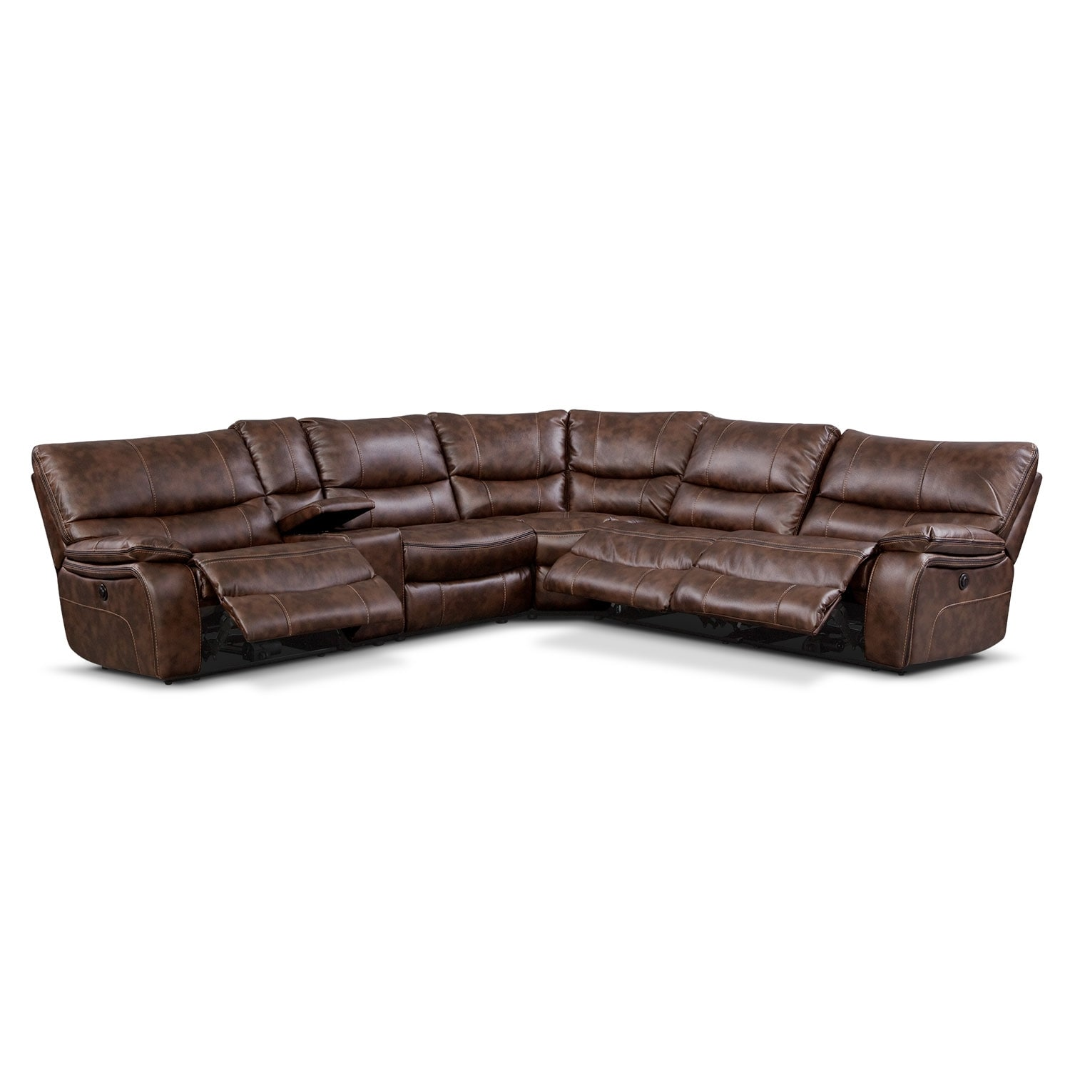 Midori 6 Pc Leather Power Reclining Sectional Sofa: Orlando II 6 Pc. Power Reclining Sectional