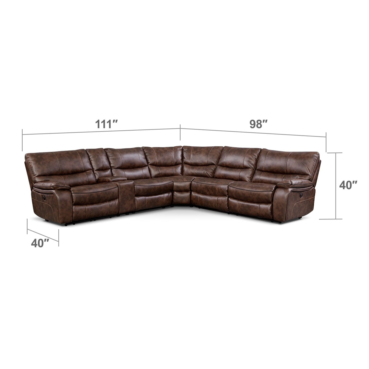 Living Room Furniture - Orlando 6-Piece Power Reclining Sectional w/ 1 Stationary Chair - Brown