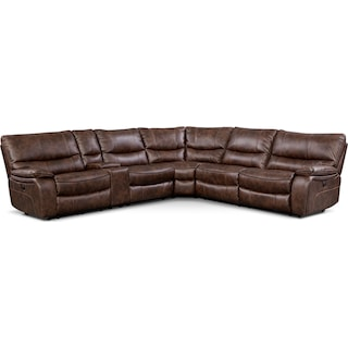 Orlando 6-Piece Power Reclining Sectional with 1 Stationary Chair - Brown
