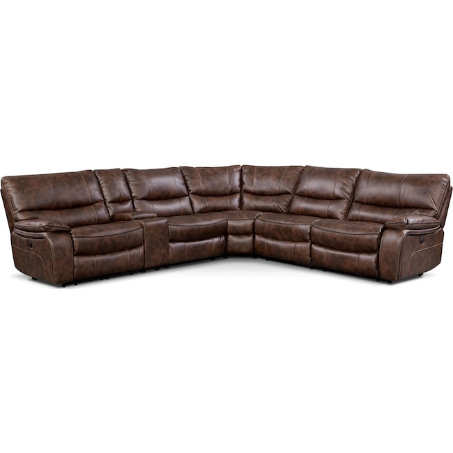 Living Room Furniture - Orlando 6-Piece Power Reclining Sectional with 1 Stationary Chair - Brown