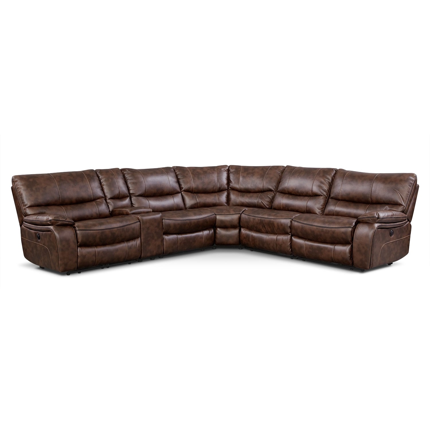 Orlando 6-Piece Power Reclining Sectional w/ 2 Stationary Chairs - Brown