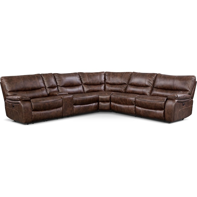 Living Room Furniture - Orlando 6-Piece Power Reclining Sectional with 2 Stationary Chairs - Brown