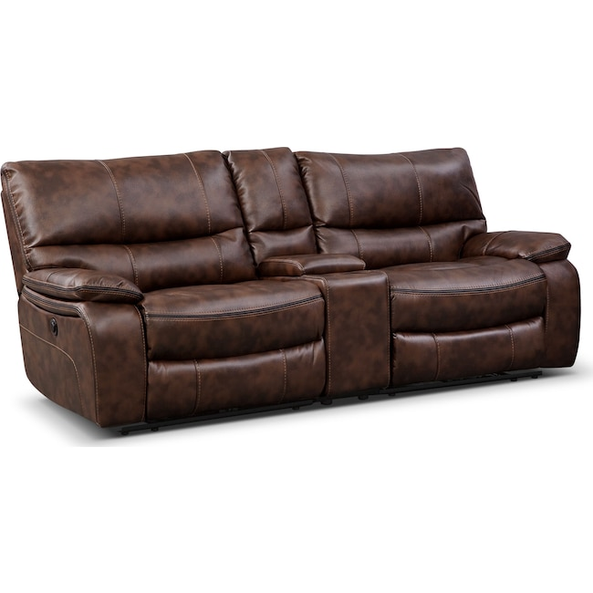 Living Room Furniture - Orlando Power Reclining Sofa with Console - Brown