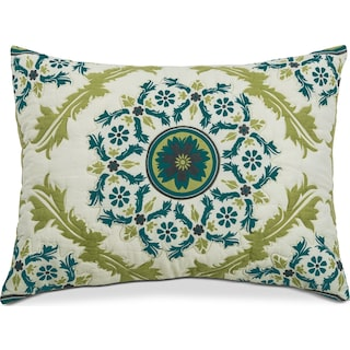 Madaline Marie Quilted Sham - Ivory, Lime, and Teal