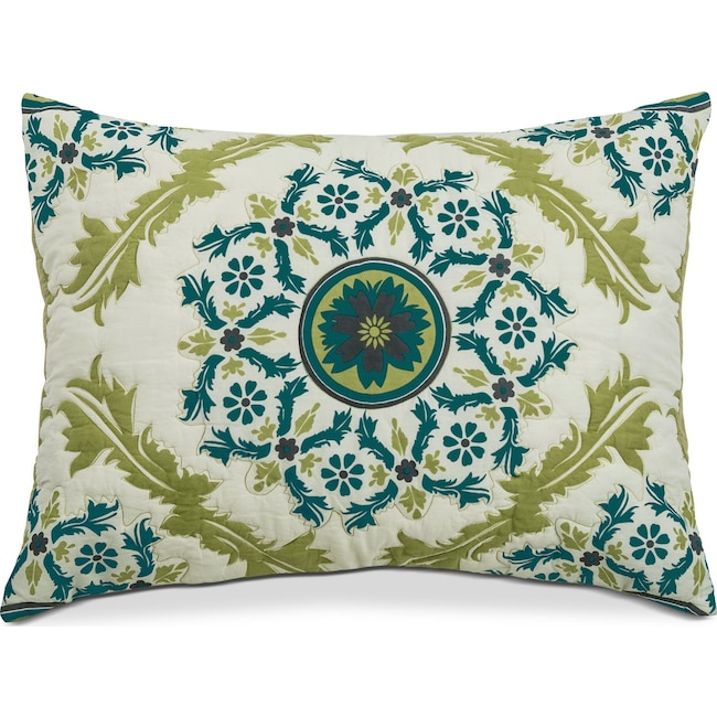 Bedroom Furniture - Madaline Marie Quilted Sham - Ivory, Lime, and Teal