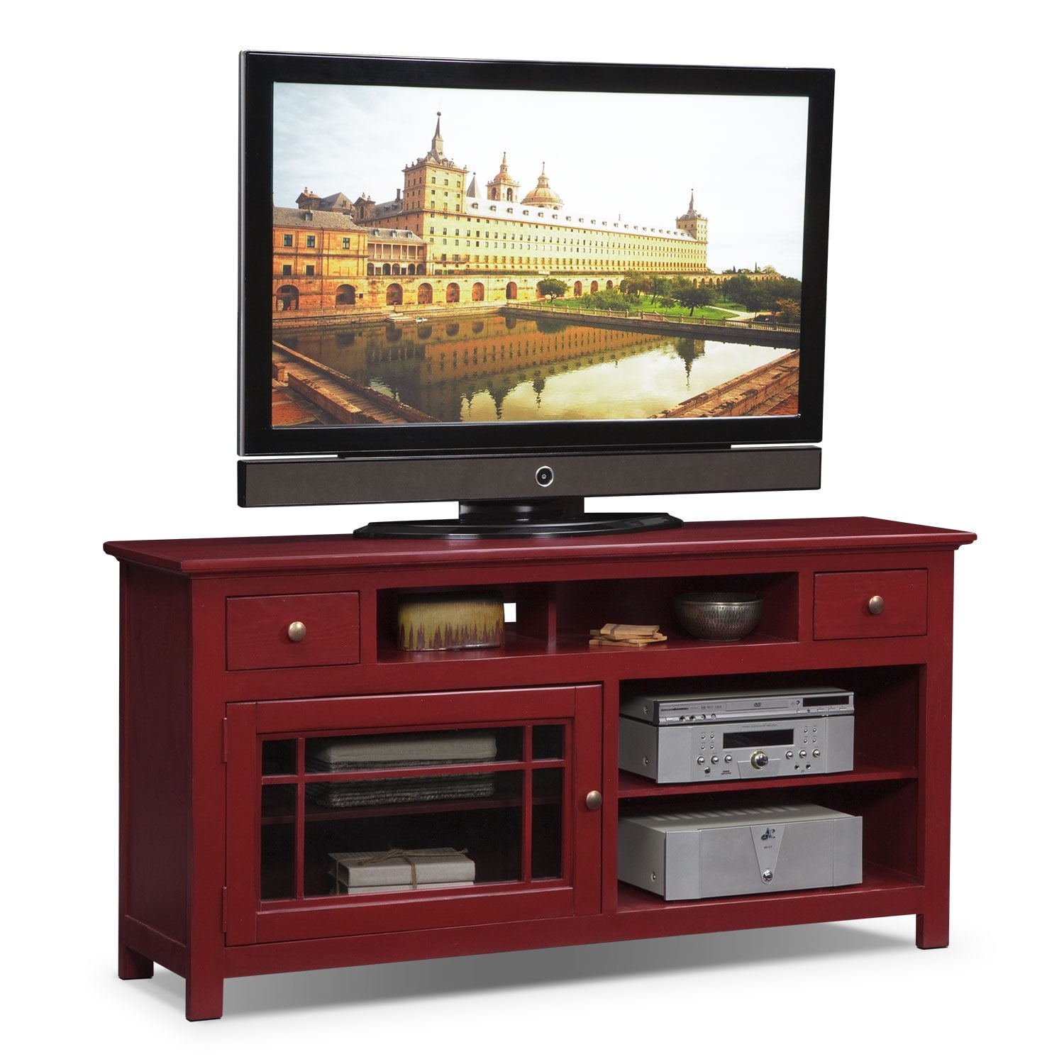 "Entertainment Furniture - Merrick 64"" TV Stand - Red"