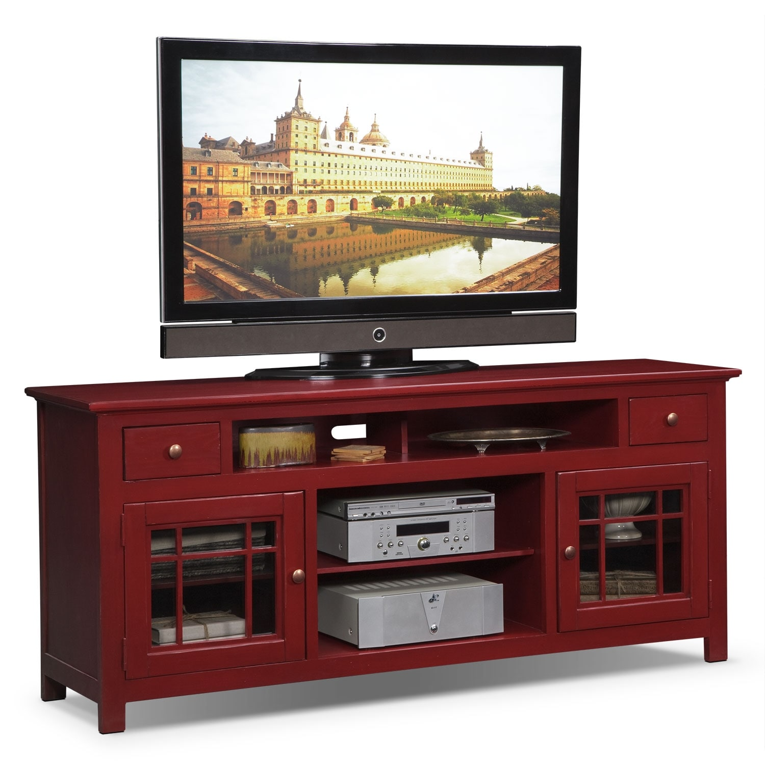 merrick  tv stand  red  value city furniture -  tv stand  red hover to zoom