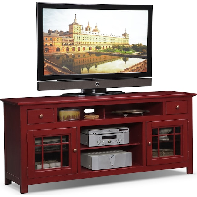 """Entertainment Furniture - Merrick 74"""" TV Stand - Red"""