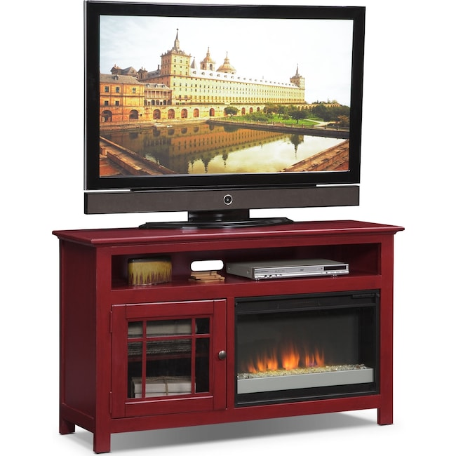 """Entertainment Furniture - Merrick 54"""" Fireplace TV Stand with Contemporary Insert - Red"""