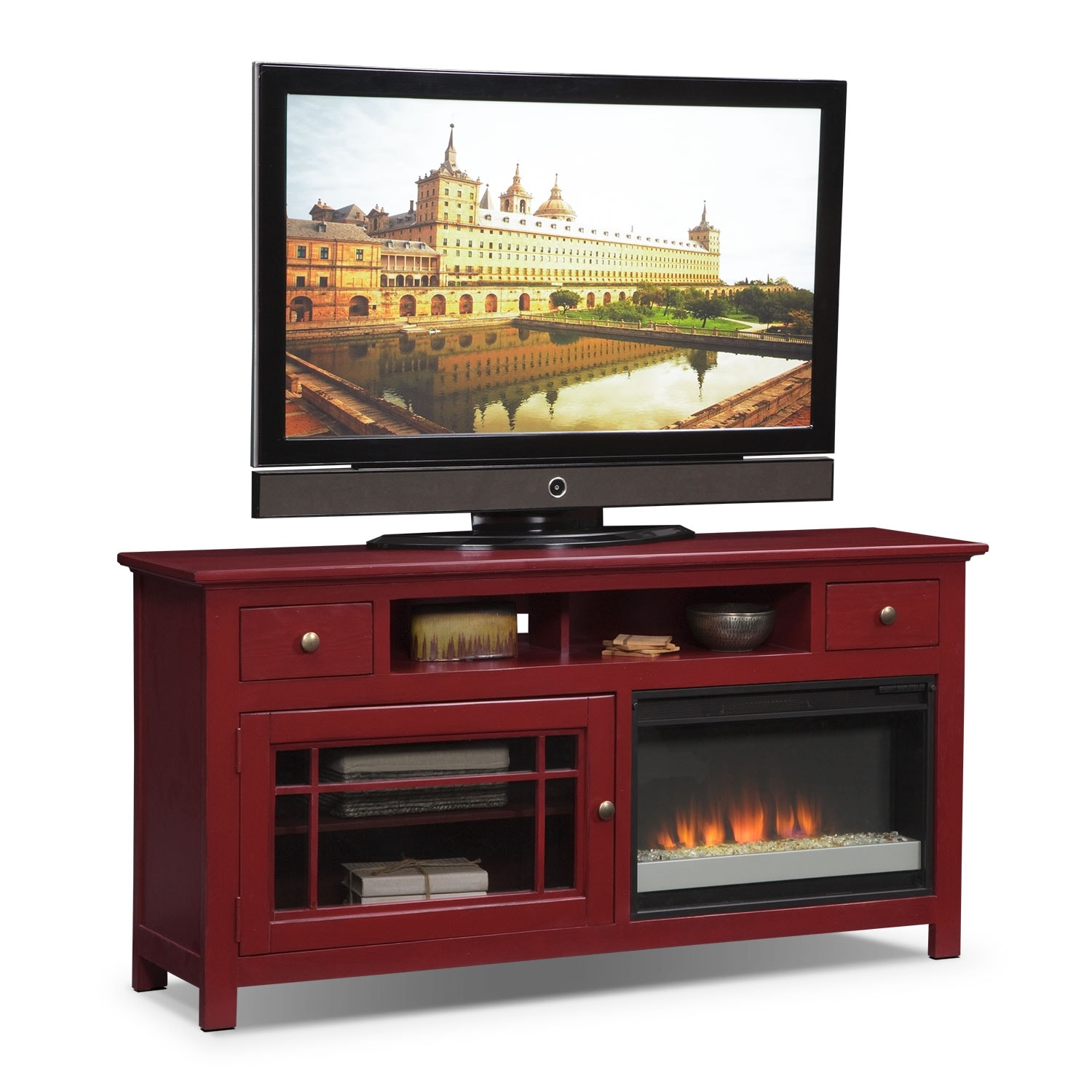 "Entertainment Furniture - Merrick Red 64"" Fireplace TV Stand with Contemporary Insert"