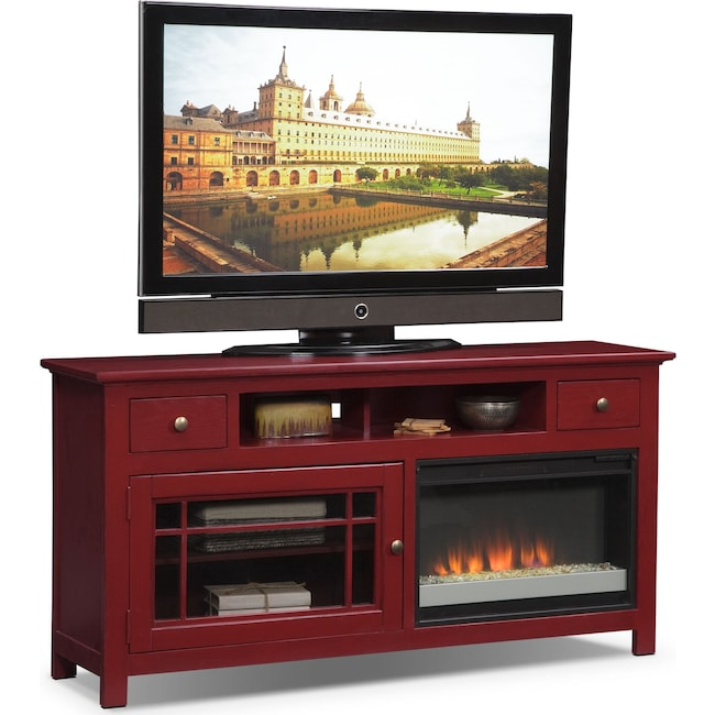 """Entertainment Furniture - Merrick 64"""" Fireplace TV Stand with Contemporary Insert - Red"""