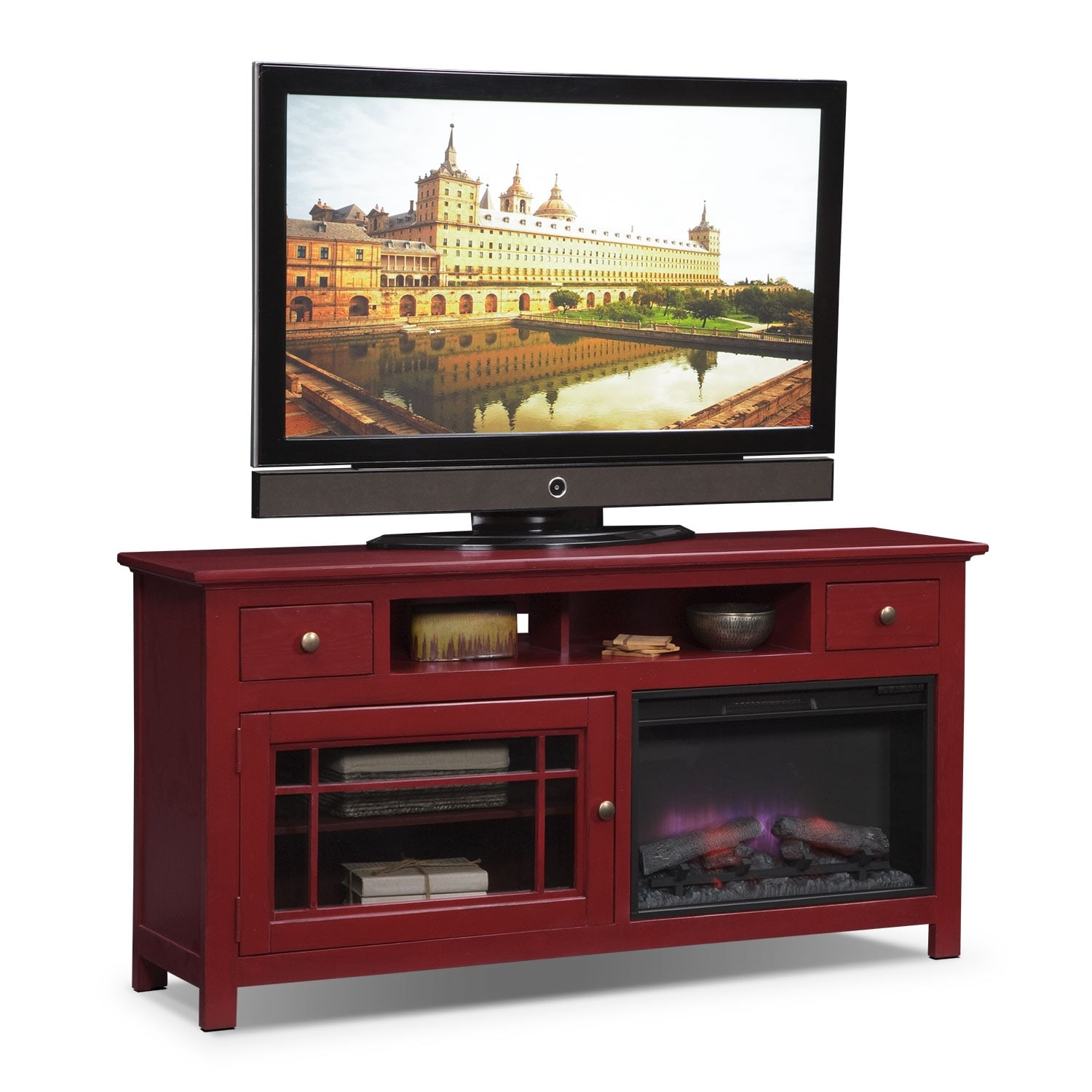 "Entertainment Furniture - Merrick 64"" Fireplace TV Stand with Traditional Insert - Red"