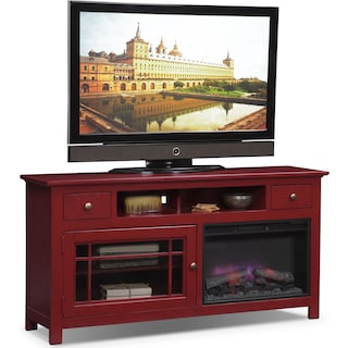 "Merrick 64"" Fireplace TV Stand with Traditional Insert - Red"