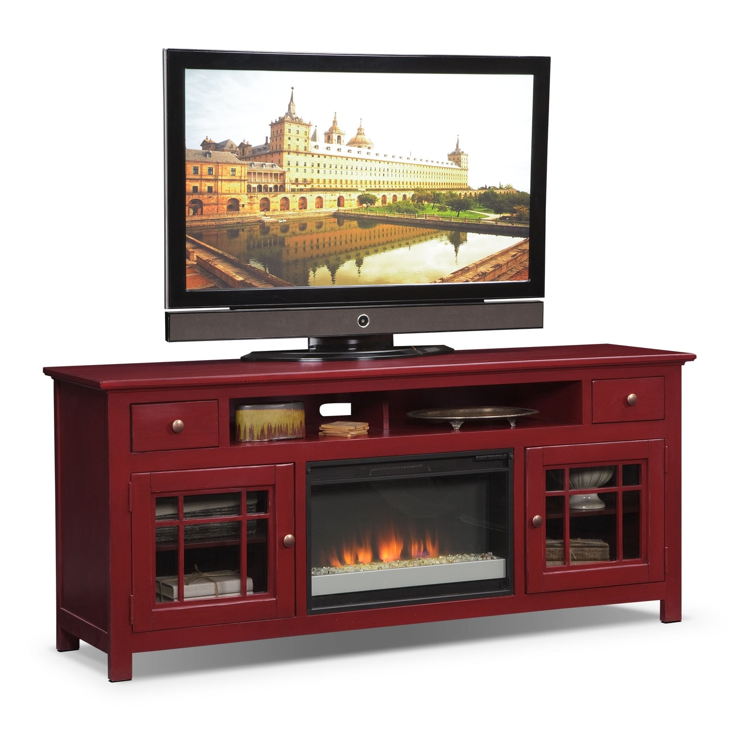 merrick  tv stand  red  value city furniture - merrick  fireplace tv stand with contemporary insert  red