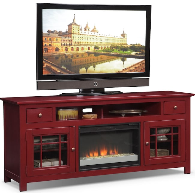 "Entertainment Furniture - Merrick 74"" Fireplace TV Stand with Contemporary Insert - Red"