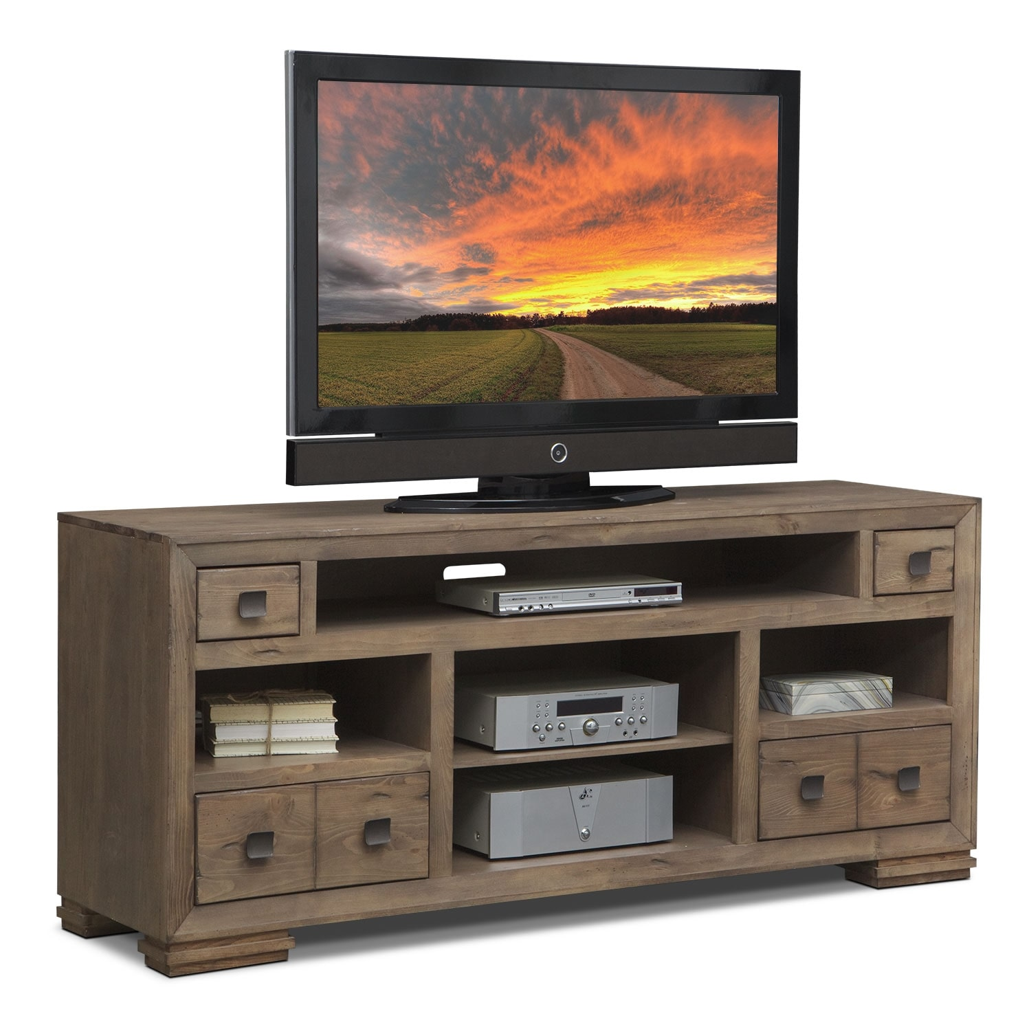 "Mesa 74"" TV Stand Distressed Pine"