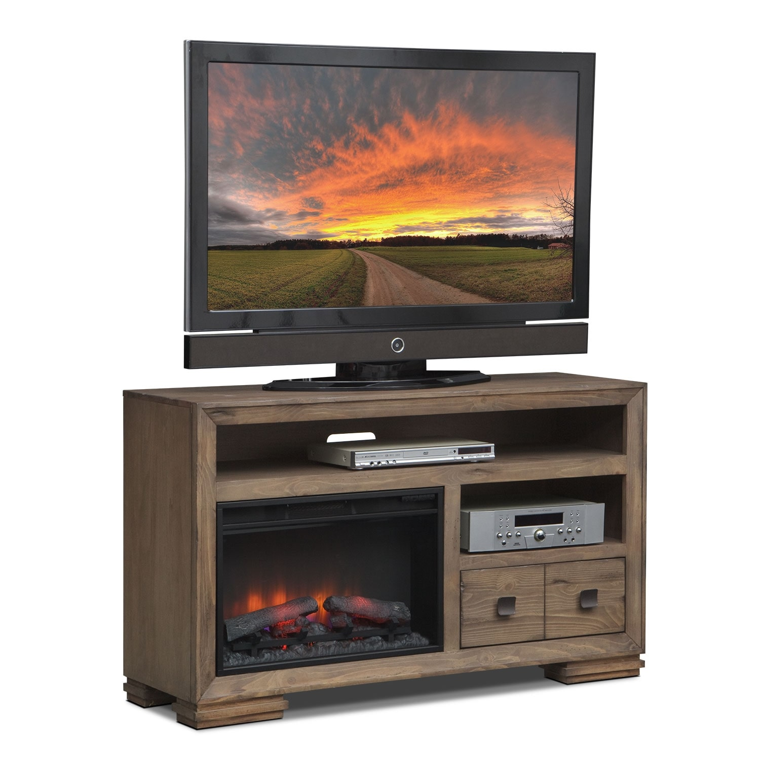 "Entertainment Furniture - Mesa 54"" Fireplace TV Stand with Traditional Insert - Distressed Pine"