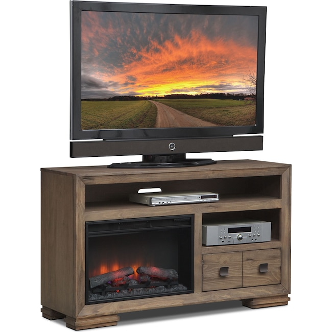 "Entertainment Furniture - Mesa 54"" Fireplace TV Stand with Traditional Insert - Gray"
