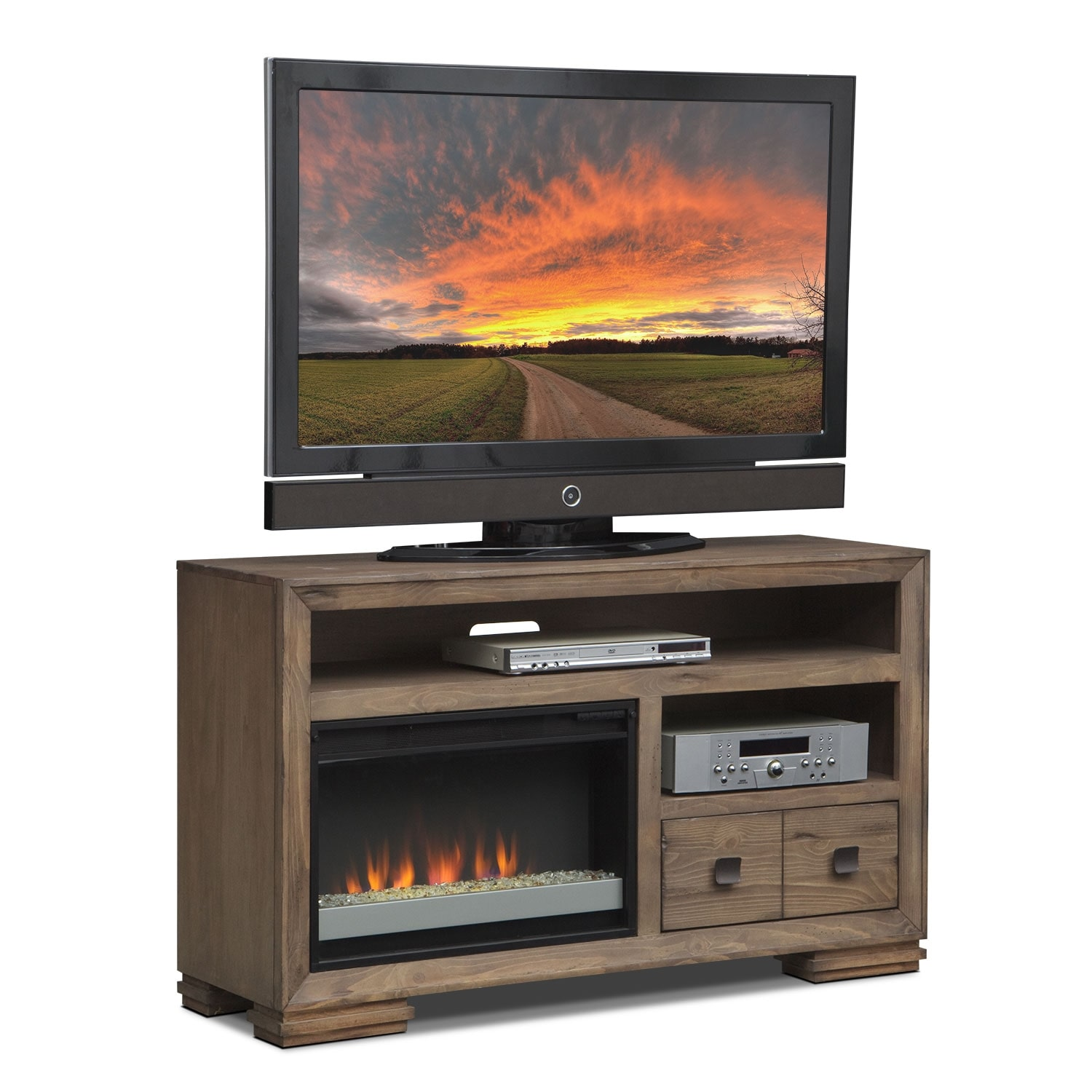 "Entertainment Furniture - Mesa 54"" Fireplace TV Stand with Contemporary Insert - Distressed Pine"