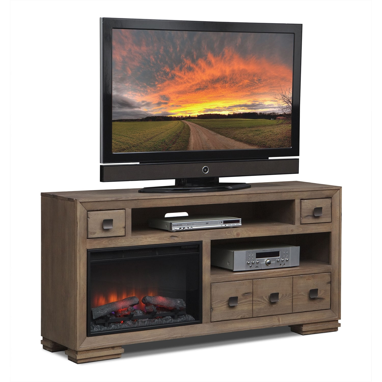 """Entertainment Furniture - Mesa 64"""" Fireplace TV Stand with Traditional Insert - Distressed Pine"""