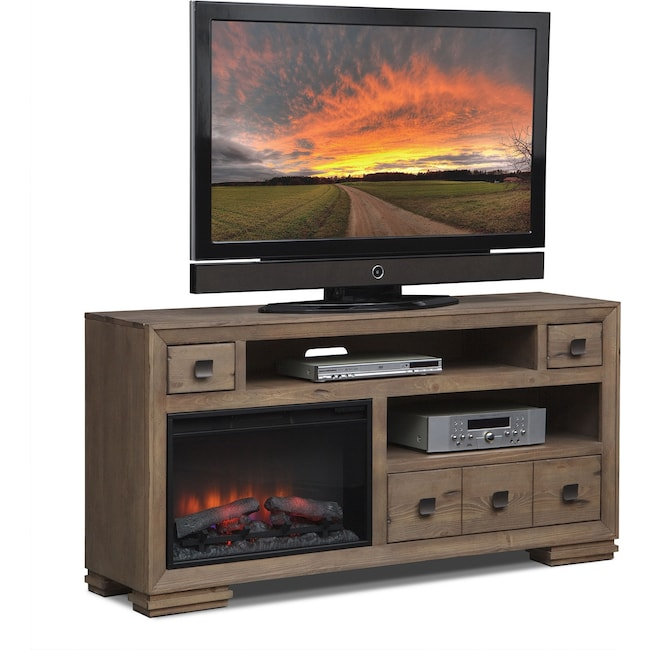 """Entertainment Furniture - Mesa 64"""" Fireplace TV Stand with Traditional Insert - Gray"""