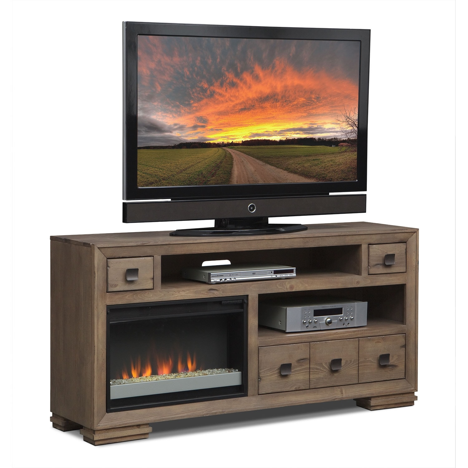 """Entertainment Furniture - Mesa 64"""" Fireplace TV Stand with Contemporary Insert - Distressed Pine"""